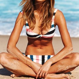 4bc9ba76bb3 European fashion women sexy low waist stripe bikini two piece swimsuit  backless sport swimwear Monokini swimming bathing suit yq18208