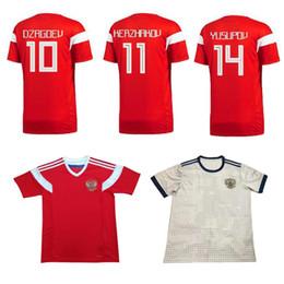 bf6c555444fe5 2018 Copa del mundo Rusia Soccer Jerseys 2018 Russian Home red Away blanco  Uniforme de fútbol Thai Quality   10 DZAGOEV   11 SMOLOV Soccer Shirts