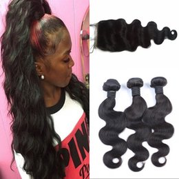 Wholesale Body Wave Silk Base Closure With Bundles Peruvian Human Hair Bundles With x4 Closure Fast Shipping LaurieJ Hair