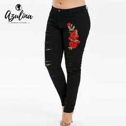 dce1e0796a8e8 AZULINA Plus Size Shredded Embroidery Applique Frayed Jeans Women Pants  Skinny Denim Pencil Pants Trousers 2018 Ladies Clothes