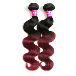 Smooth Soft Hair UK - Hair Extensions Brazilian Hair Ombre Color Burgundy Hair pieces Body Wave 12-28inch Ombre Smooth Soft High quality