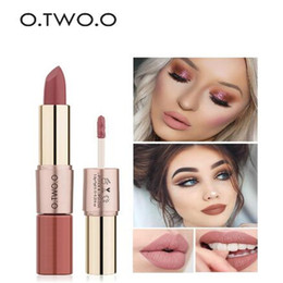 lip moisture Australia - O.TWO.O 12 Colors 2in1 lipstick Lips Makeup Gloss Long Lasting Moisture Cosmetic Lipstick Red Lip Matte Lipstick Waterproof