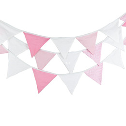 $enCountryForm.capitalKeyWord NZ - New 24 Flags - 5.4M Pink White Cotton Fabric Banners Bunting Decor Birthday Decoration Party Baby Shower Room Garden Decoration
