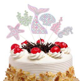 mermaid cupcake toppers 2019 - 6pcs set Ocean Cake Toppers Flags Cupcake Mermaid Cake Topper Kids Birthday Wedding Bridal Wrapper Party Baking DIY Deco