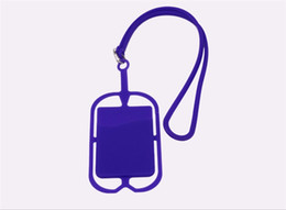 Smart Card Wallet UK - Universal promotion item smart wallet mobile card holder lanyard cell phone credit card holder silicone mobile phone id card holder