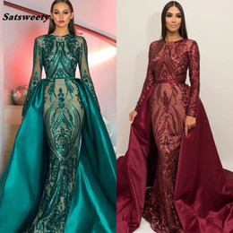 Wholesale Green Long Sleeves Luxury Mermaid Evening Dress Appliques Sequined Fashion With Train Evening Gowns Real Photos
