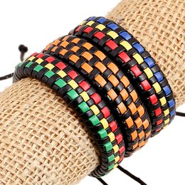 Wholesale New fashion accessories hipster bracelet hand woven color leather wristlet Yiwu small jewelry factory Outlet