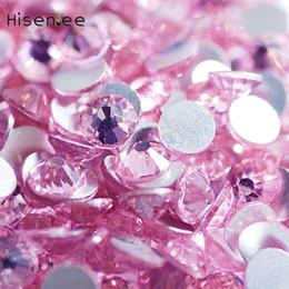 Lighting Gems NZ - Glittering Light Pink Glass Crystal Stone Non Hotfix Flatback Nail Rhinestones For Nails 3D Nail Art Decoration Gem Accessory