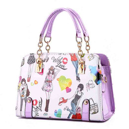 Cross bow online shopping - 5colors choose top quality pu leather handbags summer chain style fashion tote bag luxury designer handbags with cartoon print shoulder bag