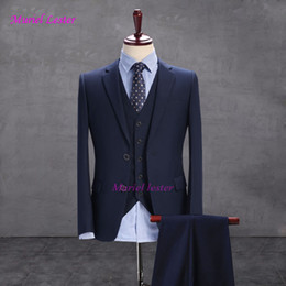 Dark Blue Suits Australia - S109 Dark Blue Men Suit, Custom made Suit men Bespoke Navy Blue Wedding Suits For Slim Fit Groom Tuxedos (jacket +pant+vest)