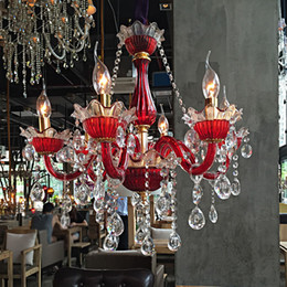 $enCountryForm.capitalKeyWord NZ - Longree Chandelier art glass living room bedroom dining hall candle chandelier crystal chandelier Villa Red Lusters Crystal Lighting
