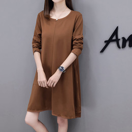 Discount european clothing styles for women - 8959# 2018 Autumn European Street Style Maternity Dress Large Size Loose Clothes for Pregnant Women Long Sleeve Slim Pre