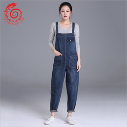 plus size women s jumpsuit NZ - European Style Boyfriend Women Denim Overalls High Waist Straps Jumpsuit Female Girl Loose Jeans Pants Plus Size S M L Xl BefreeS914