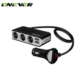 car lighter sockets 2019 - Onever 6.8A 4 USB Ports Car Charger with 3 Cigarette Lighter Sockets 120W Power Support Display Volmeter for iPhone GPS