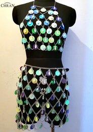 $enCountryForm.capitalKeyWord NZ - Chran Acrylic Seascale Crop Top Disco Party Chain Necklace Rave Bra Bralete Festival Skirt Costume Dress Wear Set Jewelry CRS212