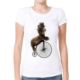 cute baby white t shirt UK - Women's Tee Cute Baby Seal Unicycle T-shirt Funny Women   Ladies Animal Shirts Summer Casual Round Neck Short Sleeve Tops Tee