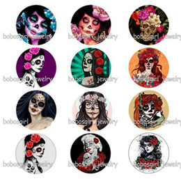 Jewelry girl skull online shopping - New sugar skull girls Halloween glass snap buttonphoto Round Gl7160 jewelry making DIY Findings Fit for bracelet necklace earrings