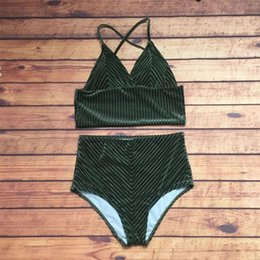 Two piece high waisT swimwear online shopping - Femme Bikini Two Piece Suits Woman Swimsuit Lady Swimwear Velvet High Waist Sexy Divided Body Pure Color Fresh Hot Sale sc V
