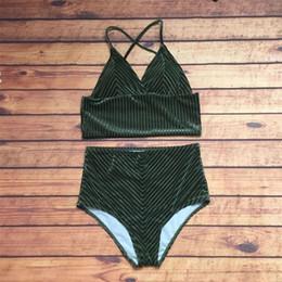 Fresh swimwear online shopping - Femme Bikini Two Piece Suits Woman Swimsuit Lady Swimwear Velvet High Waist Sexy Divided Body Pure Color Fresh Hot Sale sc V