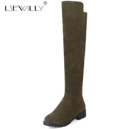 Black Blocks Canada - Lsewilly Womens Knee High Boots Medium Block Heel Knee High Botas Green Black Ladies Shoes Plus Size Knight Boots Female E266