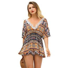 2386ca96cd9 2018 Summer New Pattern Chiffon Sexy Flower Printing V-Neck Low Neck  Backless Braces Harness Skirt Pantskirt Jumpsuit Dresses Mini Short