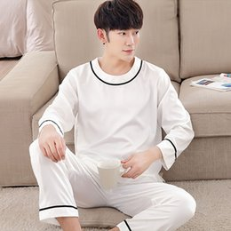 ef427cbe49 Mens Pyjamas Spring Long sleeve Silk Sleepwear Luxury Silk Satin Pajamas  White Youth Men Lounge Pajama Sets Plus Size 3XL