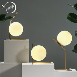 shop for beds 2018 - Nordic glass table lamp modern art deco desk lamp LED E27 with 3 styles for bedroom living room bookstore office shop re