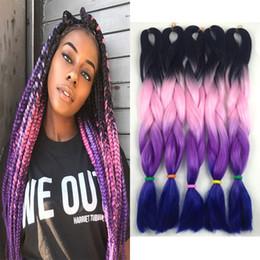 24 Inch Synthetic Braiding Hair Australia - Wholesale Synthetic Ombre Braiding Hair Extensions Kanekalon High Temperature Fiber Crochet Twist Hair Black Pink Purple Colors 24 inch 100g
