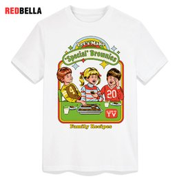 wholesale vintage clothes UK - T-shirt Men 70s 80s Retro Wicked Let's Make Brownies Man T-shirts Vintage Humor Tee Casual Cotton White Print Funny Clothes