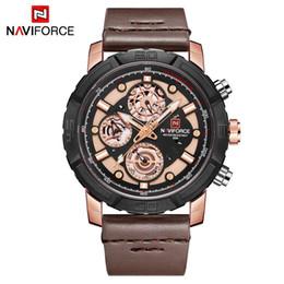 $enCountryForm.capitalKeyWord NZ - NAVIFORCE Fashion Men Watches Leather Strap Men's Quartz 24 Hour Clock Analog Watch Sport Wrist Watch Relogio Masculino