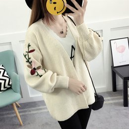 Woman Sweater Cardigan Top Female Woman s Coat Feminine Clothes Ladies  Clothing Knitted Embroidery Jumper Korean Style Autumn F9 14df415a4