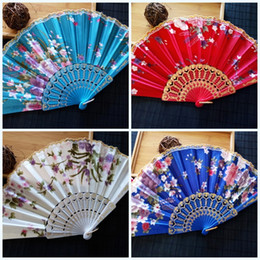 China Cloths online shopping - Portable Elegant Fold Fan Satin Gift Hand Plastic Lace Silk Flower Dance Fans Arts And Crafts Exquisite Quality Print Color sz jj
