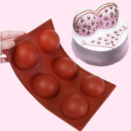 Silicone Cake Ball NZ - Silicone 6-Cavity 7cm 3D Half Ball Chocolate Cake Muffin Soap Mold Mould Baking Tray 29.5cmx17.3cmx3.3cm