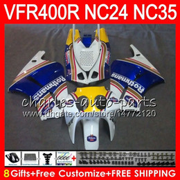 China RVF400R For HONDA VFR400 R NC24 V4 VFR400R 87 88 94 95 96 81HM.0 RVF VFR 400 R NC35 VFR 400R 1987 1988 1994 1995 1996 Fairings Rothmans Blue cheap vfr fairings suppliers