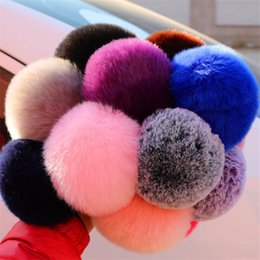 Artificial Chains Wholesalers Australia - 13 Colors Hot Sale Lovely Fluffy Rabbit Fur Ball Key Chain Pompom Artificial Rabbit Fur Keychain Women Car Bag Key Ring
