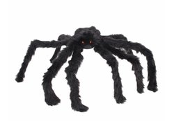 Funny horror prank toys online shopping - Soft Black Plush peluche Spider Funny Toy Scary Red Eyes for Halloween Decor Toys Party Stage Horror Props Prank Joke Scary Toys