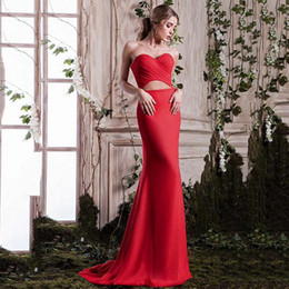 $enCountryForm.capitalKeyWord Australia - Charming Sweetheart Neckline Sheath Prom Dresses Red Satin Simple Mermaid Evening Dresses Prom Gowns Custom Made