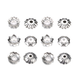 China 500pcs lot Stainless Steel Torus Bead Caps for Pearl End Receptacle Flower Diy Spaced Apart Jewelry Accessories For wholesale cheap jewelry cap ends suppliers