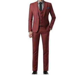 $enCountryForm.capitalKeyWord UK - Customized wine red men's suit wedding groom   groomsman lapel single button men's suit three-piece suit (jacket + pants + vest)