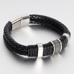 $enCountryForm.capitalKeyWord Australia - Leather Bracelet for Man Double Layers Weaving Leather Stainless Steel Magnetic Clasp Titanium Ring Leather Bracelet