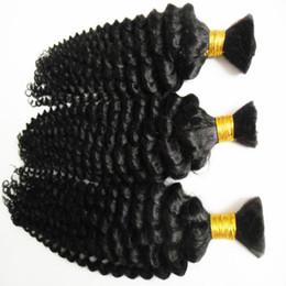 Grade Brazilian Hair Bulk UK - Hot sale grade 6a unprocessed brazilian Deep Wave hair human hair bulk for braiding 300g natural black hair