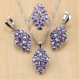 $enCountryForm.capitalKeyWord Australia - Fashion Sets Punk 925 Sterling Silver Jewelry Purple CZ White Cubic Zirconia Jewelry Sets For Women Earring Pendant Necklace Ring