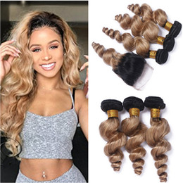 Attractive Loose Wave 1B 27 Honey Blonde Ombre Malaysian Human Hair 3Bundles With 4x4  Lace Closure Light Brown Ombre Hair Weaves With Closure Images