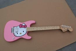 China Free Shipping Pink Cute & Nice Kitty Cat Custom Electric Guitar Special for Girls and KIDS In Stock suppliers