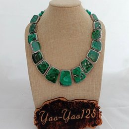 graduated plastic Australia - N012809 19'' Green Malachite Silver Plated Graduated Necklace