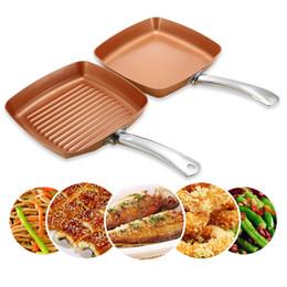 Griddle Fry Pan NZ - 2pcs Non -Stick Copper Frying Pans Square Griddles Skillets Ceramic Coating Compatible Bottom Cooking Frying Safe Skillet Pans