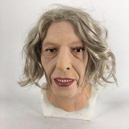 Ingrosso 2018 Fashion Latex Old Women Girl Party Cosplay bellezza viso per maschera party sexy capelli lunghi maschera di carnevale di halloween