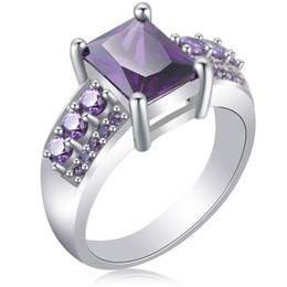 PurPle amethyst white gold ring online shopping - Fashion Purple Amethyst Rectangle Cubic Zirconia White Gold Plated Rings Size For Women s Engagement Gift