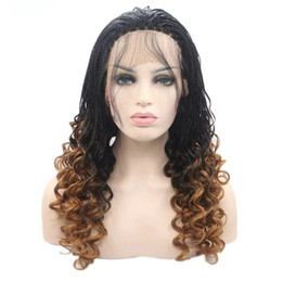 red lace front wig baby hair NZ - Hotselling heat resistant fiber short braided wig natural black ombre blonde Box Braided with baby hair synthetic lace front wig for women