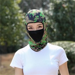 camo sports hats 2019 - Summer Sun UV Protection Head Cap Outdoor Riding Full Face Mask Solid Head Cap Active CS Outdoor Camo Sports Hood Hat B1